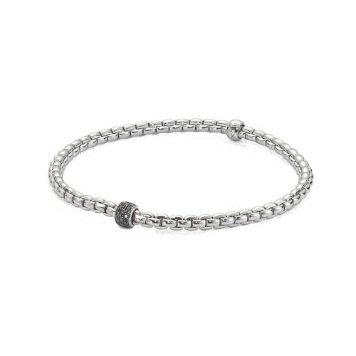 1 Fope 18ct White Gold Black Diamond Flex'It Bracelet 733B PAVENL csbedford