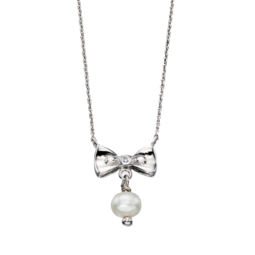 D for Diamond Silver Girls Bow And Pearl Necklace N4077 childrens Csbedford