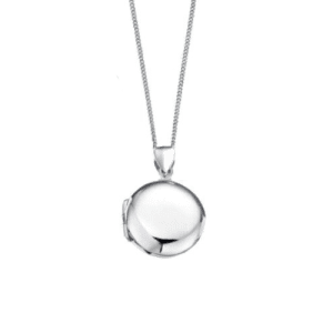 D for Diamond Silver Plain Round Locket Pendant childrens P2639 Csbedford