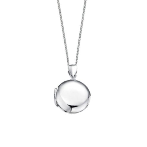 D for Diamond Silver Plain Round Locket Pendant childrens P2639 Csbedford