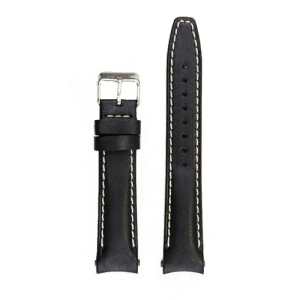 Everest Leather Strap Tang Buckle for Rolex Datejust Black EH12BLKWS CSbedford