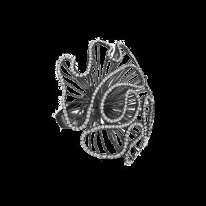 Fei Liu Cascade Large Ring Black Rhodium Vermeil CAS-925B-001-CZ00 csbedford