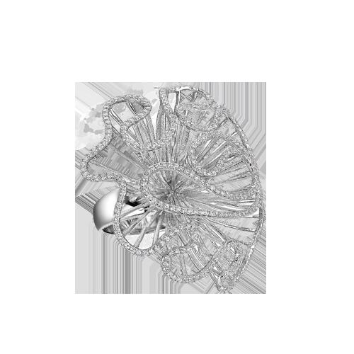 Fei Liu Cascade Large Ring In Rhodium Vermeil CAS-925R-001-CZ00 CSbedford