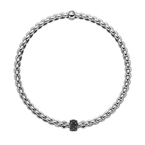 Fope 18ct White Gold Black Diamond Flex'It Bracelet 733B PAVENL csbedford