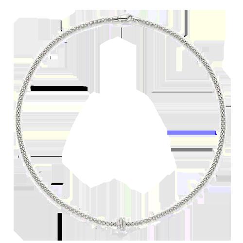 Fope 18ct White Gold Prima Necklace 744C PAVE csbedford