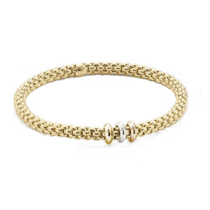 Fope 18ct White Yellow Rose Gold Flex'It Solo Bracelet 653 BM csbedford