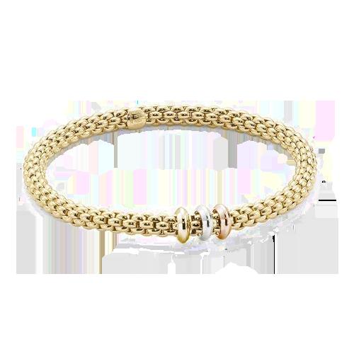 Fope 18ct White Yellow Rose Gold Flex'It Solo Bracelet 653 BM csbedford