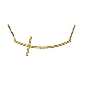 Jhk 18K Curved Cross Necklace VNV00600 csbedford