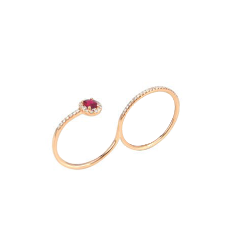 Jhk 18K Rose Gold Double Ring VRV0098 csbedford