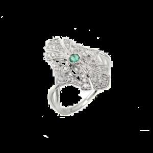 Jhk 18K White Gold Diamond & Emerald Ring csbedford
