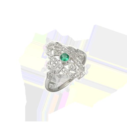 Jhk 18K White Gold Diamond Emerald Ring