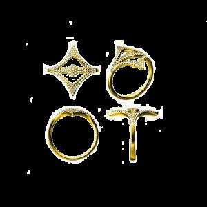 Jhk 18K Yellow Gold Rhombus Ring csbedford