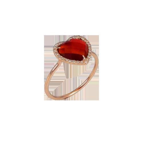 Jhk Red Agate Heart Diamond Ring JR019601 csbedford