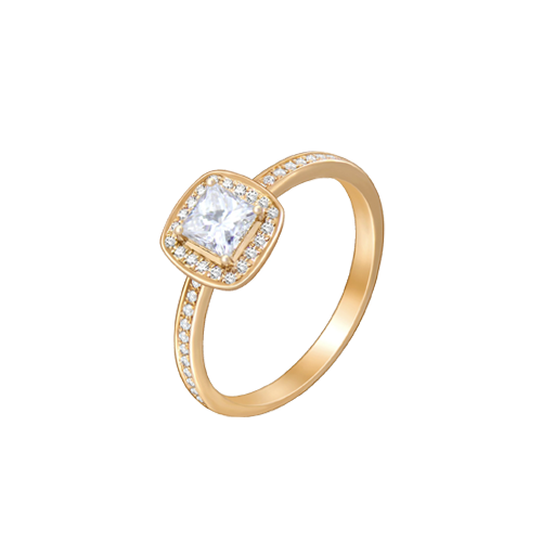 18ct Rose Gold Princess Cut Diamond Ring UNR-0442-RN csbedford