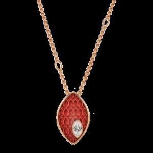 18ct Rose Gold Red Enamel 0.08ct Diamond Pendant csbedford