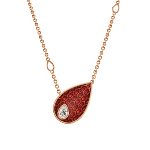 18ct Rose Gold & Red Enamel Pear 0.09ct Diamond Pendant csbedford