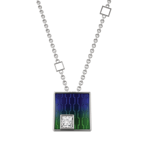 18ct White Gold & Enamel 0.11ct Princess Cut Diamond Pendant csbedford