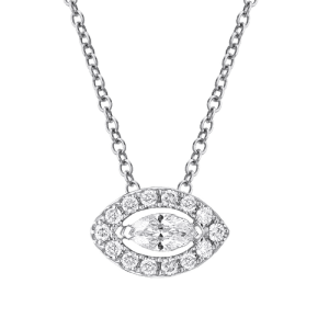 18ct White Gold Marquise Diamond Necklace csbedford