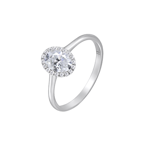 18ct White Gold Oval Cut Diamond Ring UNR-0376-RN csbedford