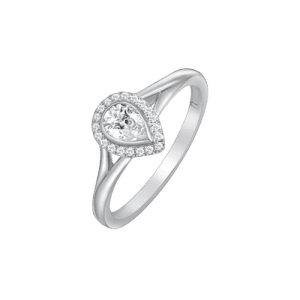 18ct White Gold Pear Cut Diamond Ring UNR-0418-RN csbedford