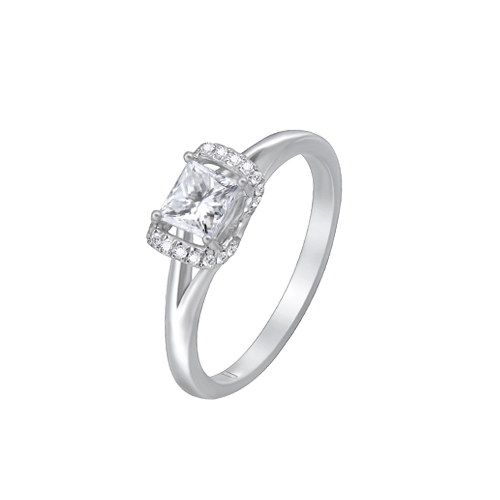 18ct White Gold Princess Cut Diamond Ring UNR-0371-RN csbedford