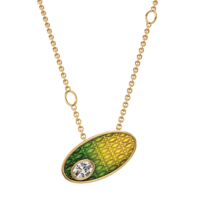 18ct Yellow Gold Oval Diamond 0.12ct Ombre Pendant UNR-0318-LT csbedford