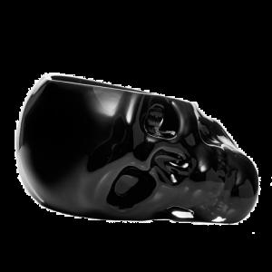 Nude Glass Memento Mori Faceted Black Skull bowl csbedford