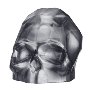 Nude Glass Memento Mori Faceted Skull Silver Large csbedford