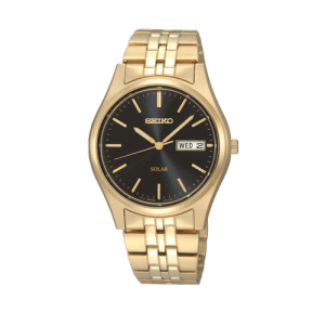 Seiko Mens Solar Gold Plated Day Date Watch SNE044P9 csbedford