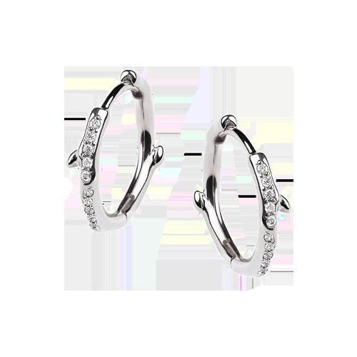 Shaun Leane Silver Cherry Blossom Diamond Hoop Earrings CB019.SSWHEOS csbedford