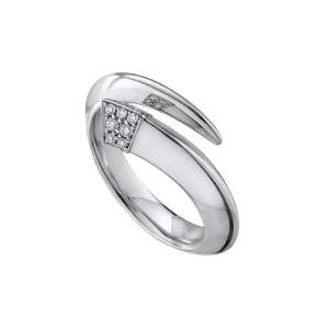 Shaun Leane Silver Diamond Tusk Ring SA026.WHRZL csbedford