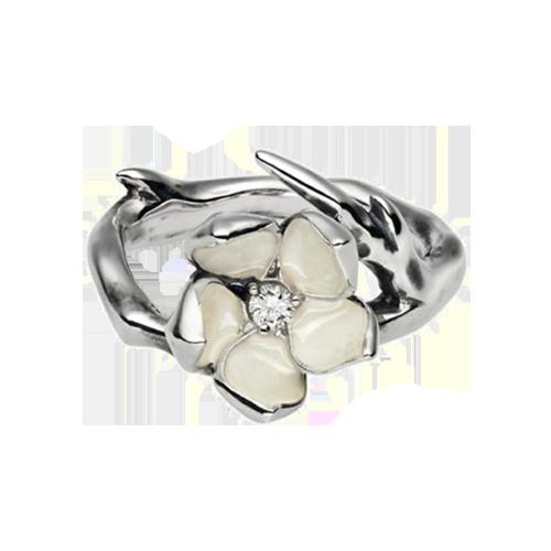 Shaun Leane Silver Ivory Cherry Blossom Diamond Ring SLS208S csbedford
