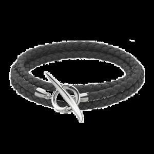 Shaun Leane Silver Quill Black Leather Wrap Bracelet QU020.SSBKBZM csbedford