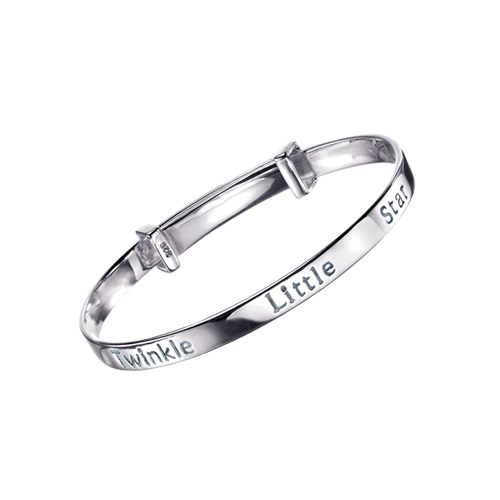 D for Diamond Silver Adjustable Baby Bangle Twinkle Little Star Csbedford