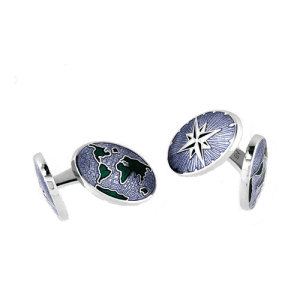 Nicole Barr Blue World Compass Elbow Cufflinks csbedford