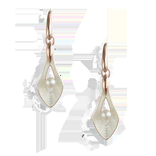 Nicole Barr Freshwater Pearl White Teardrop Wire Earrings csbedford