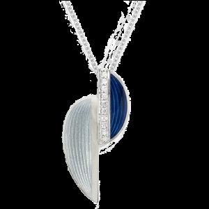 Nicole Barr Gray Art Deco Silver & White Sapphire Necklace csbedford