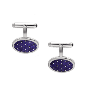 Nicole Barr Purple Oval T-Bar Silver Cufflinks csbedford