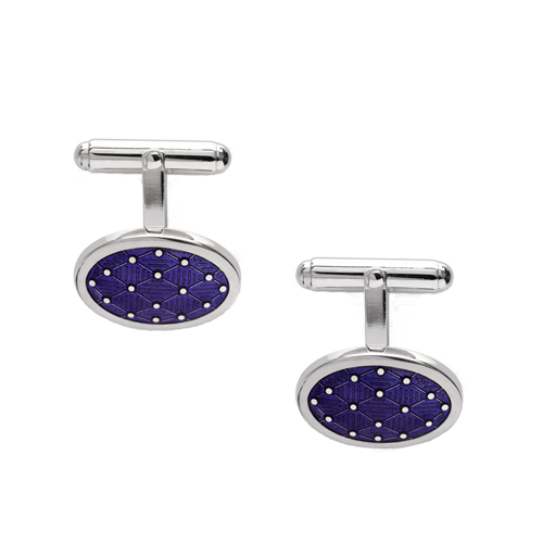 Nicole Barr Purple Oval T-Bar Silver Cufflinks csbedford