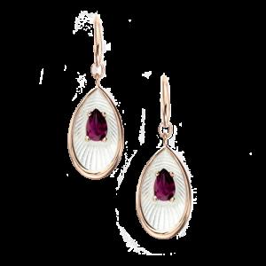 Nicole Barr White Teardrop Rhodolite Wire Earrings csbedford
