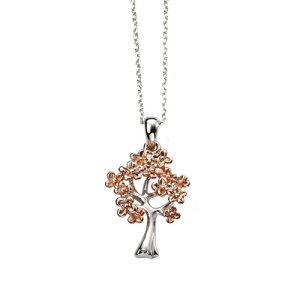 D for Diamond Silver Rose Gold Plated Tree Pendant P4004 CS Bedford