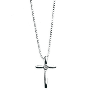 Silver Diamond Set Cross Unisex Pendant Necklace P3572 Csbedford Gecko