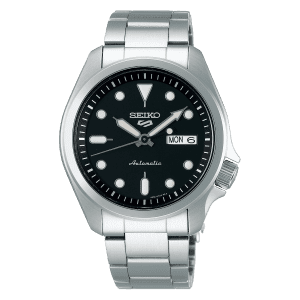 seiko SRPE55K1 csbedford 5 Automatic Black Day Date Bracelet Watch
