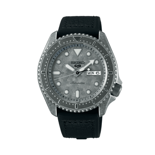 5 Sports Silver Dial Black Leather Strap Men's Watch SRPE74K1 Csbedford