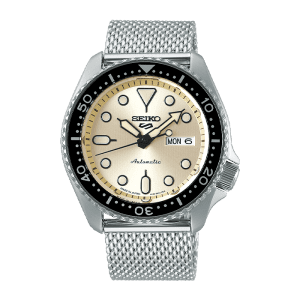 seiko SRPE75K csbedford 5 Sports Automatic Cream Dial Milanese Day Date Watch